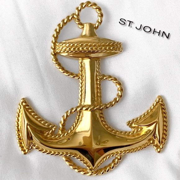 St. John Jewelry - ST. JOHN 14K GOLD PLATED ANCHOR PIN